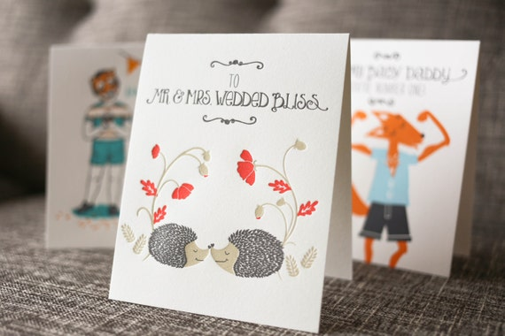 Letterpress Wedding Card, Hedgehog Wedding Card