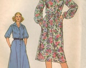 1970s Simplicity 8679 Vintage Sewing Pattern Misses Dress Size 16 Bust 38