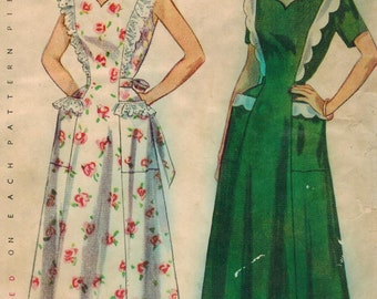 1950s Simplicity 3218 Vintage Sewing Pattern Misses Pinafore and House Dress Size 12 Bust 30