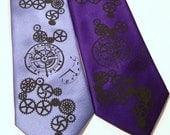 4 Wedding ties, Mens necktie - Clock Gears pocket watch steampunk Custom colors print to order