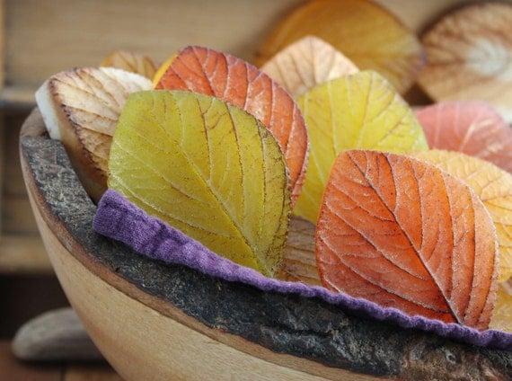 Autumn Leaf wedding favor soaps - Fall wedding - falling autumn leaves