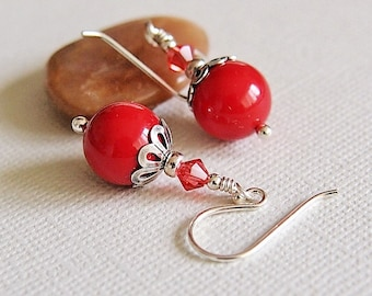 Red Coral Pearl Earrings, Glass Beaded Earrings, Sterling Silver - CORAL LACE