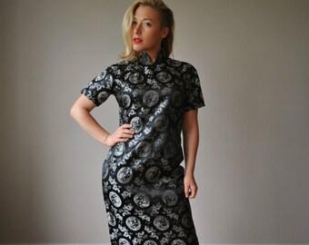 1950s Black Asian Evening Dress~Size Small to Medium