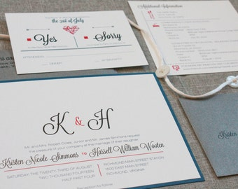 Modern Blue and Hot Pink Wedding Invitation Suite | Kristen & Hassell