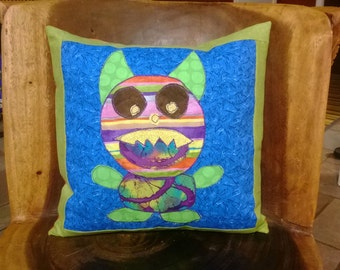 Rainbow Monster Applique Throw Pillow 14x14 Slipcover- Insert Included