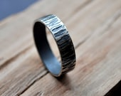 Rustic Men's Wedding Ring.  Oxidized + Distressed. Sterling Silver. (Oxidised, Black, Grey.) 6mm Wide Flat Band. Custom. Recycled.