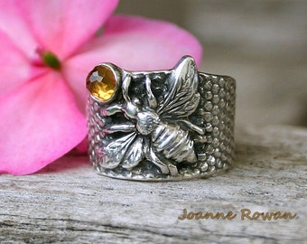 You Can Call Me Queen Bee.... Sterling Silver Bee Ring with Citrine