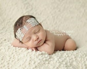 Great Gatsby newborn headband - platinum or gold colored lace in Roaring 20s art deco design