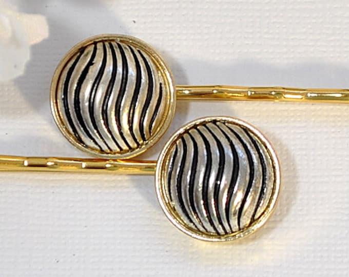 SALE - Zebra Hair Pin Black Silver Bobby Pin Striped Bobbies Hair Slides