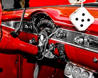 Chevrolet Bel Air Steering Wheel Car Photography, Automotive, Auto Dealer, Muscle, Sports Car, Mechanic, Boys Room, Garage, Dealership Art