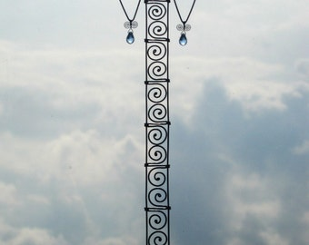 Wire Sculpture / Tall Angel In Blue / Hanging Ornament