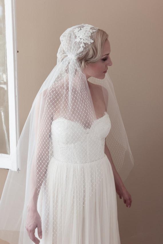 Juliet cap wedding veil alencon lace rhinestone by for Veil for champagne wedding dress