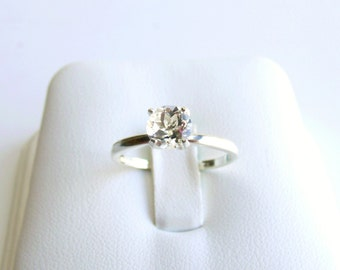 White Topaz Ring Sterling Silver April Birthstone made to order