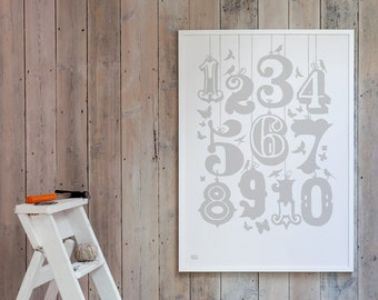 Count Numbers - decorative screen print