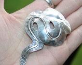 Huge Sale Vintage Big /huge Sterling   Silver Pin Brooch in shape of Boa  Constrictor Snake
