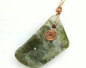 Connemara Marble Pendant or Ornament with Copper, Celtic Spiral. Optional Cotton Chain