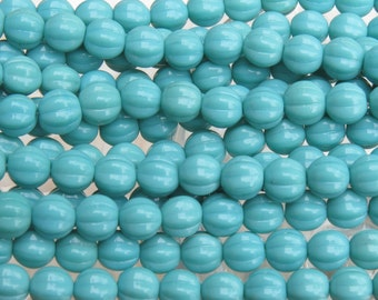 8mm Opaque Turquoise Czech Glass Melon Beads - Qty 25 (BW98)