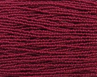 8/0 Opaque Oxblood Red Czech Glass Seed Bead Strand (CW43)