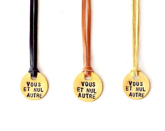 Leather Necklace, Handstamped Jewelry, Couple Necklace, Minimalist Necklace, Promise Jewelry, Vous et Nul Autre, French Jewelry - The Tagged