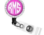 Pink Monogram Badge Reel,  ID Badge, Retractable Badge Reel, Personalized Badge Reel (330)