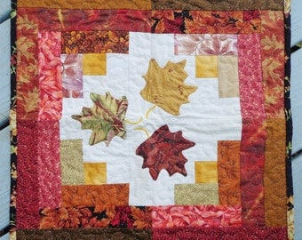 Autumn Leaves Log Cabin Quilted Table Mat