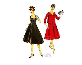 1950s Trapeze Dress Pattern McCall's 4678, Sleeveless Empire Waist Dress with Flare Skirt, Petticoat, Short Jacket, Vintage Sewing Pattern