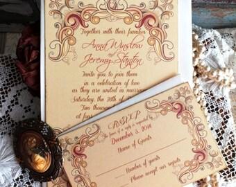 Vintage Romantic Floral Frame Wedding Invitation Handmade by avintageobsession on etsy