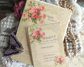 Vintage Romantic Roses and Lace Wedding Invitations Handmade by avintageobsession on etsy