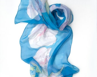 Hand painted scarf Blue Orchids. Silk chiffon scarf shawl painted. Light blue floral scarf with pale pink orchids. Spring celebration