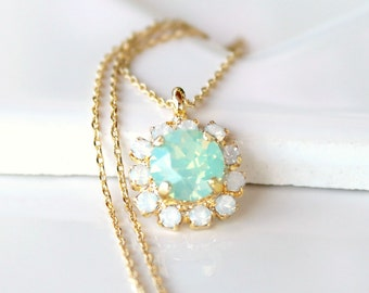Chrysolite Opal and White Opal Halo Pendant Necklace on a Gold Chain