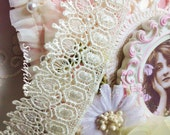 """Ivory Victorian  Inspired Venise Lace Trim 1.5"""" wide for Fabric Journals, scrapbooking"""