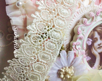 "Ivory Victorian  Inspired Venise Lace Trim 1.5"" wide for Fabric Journals, scrapbooking"