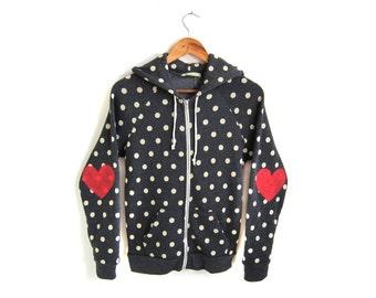 Heart on My Sleeve Hoodie - Fleece Long Sleeve Hooded Zip Sweatshirt in Black and White Polkadot - Women's Size S-XL