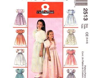 Girls Formal Dress Pattern McCalls 2513 Flower Girl Dress Puff Sleeves Party Dress & Veil Sewing Pattern Size 3 4 5 UNCUT