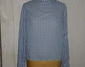 RESERVED for Y - 60s High Collar Blouse Blue Gingham Long Sleeve S M Small Medium