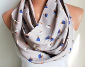 FREE SHIPPING Beige Infinity Scarf with Blue Flowers