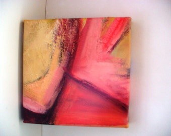 Abstract Mini Painting Art Bright Colorful Pink Modern Wall Decor 10 x 10