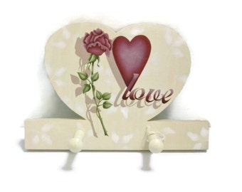 Heart Peg Rack with Hand Painted Rose   Tole Painted Scarf or Jewelry Rack
