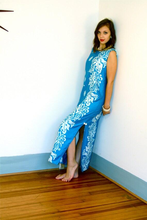 Vintage 60s Hawaiian Maxi Dress Blue Luau Malihini Hawaii