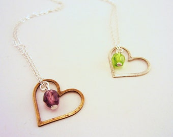 Floating charms. Heart necklace. Best friend gift. Friend necklace. Set of two. Silver and gold charm necklace. Birthstone necklace.