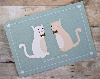 Purr-fect Couple Cat Gay/Same-Sex Wedding, Engagement, Anniversary Card