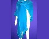 Isaac Mizrahi Original couture wrap vtg 80s Vivid Turquoise Velvet Silk Fur Long Pashmina