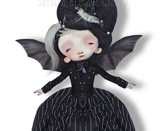Brunelle -  Halloween  articulated Paper Doll - 11.6  inches - lady crow bat monsters creatures freak vampire art doll ghost victorian