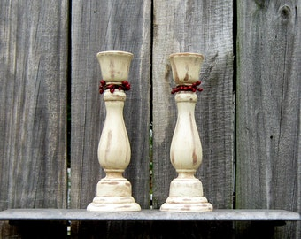 Taper Candle Holders, Rustic, Ivory, Distressed, Red Pip Berries, Candle Sticks, Pair, Set of Two, Cottage Chic, Painted Wood, Home Decor