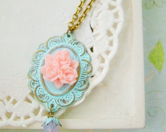 Victorian style Filigree Rose Light Blue Patina Antiqued Bronze Cluster Rose Nickel and Lead Free Necklace, bridesmaid jewelry, for wife,