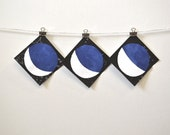 contemporary decor: three lunar phases. hand-inked linocut prints