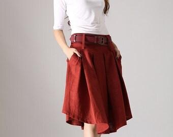 Red skirt, linen skirt, pleated skirt, circle skirt, knee length skirt, swing skirt, cute skirt, handmade skirt, gift for girlfriend (852)