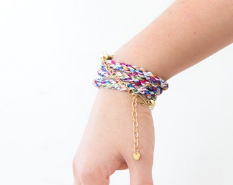 Braided wrap bracelet - multicolor candy - As seen at Macy's