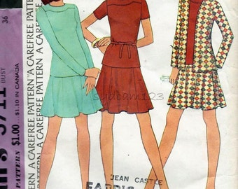 Vintage 1970s Knit Cardigan Skirt and Tunic Pattern...Flowy Skirt...Collarless Shirt Shaped Yoke...1973 McCalls 3711 Bust 36 UNCUT