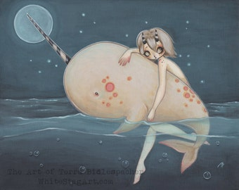 Narwhal fairy lowbrow art print sea fantasy popsurreal
